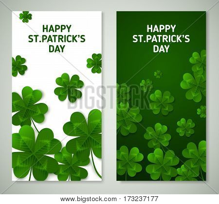 Saint Patrick's Day Vertical Banners with Green Four and Tree Leaf Clovers on White Background. Vector illustration. Party Invitation Design, Typographic Template. Lucky and success symbols