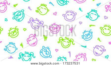 funny faces, hand drawn seamless pattern, emoticons background