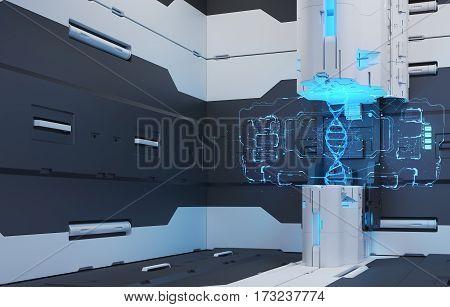 Futuristic Interior. Projection hologram DNA. Volume hologram. Futuristic interface. 3D Rendering. 3D illustraion