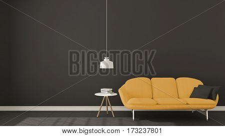 Scandinavian Minimalistic Dark Background, With Yellow Sofa On Herringbone Natural Parquet Flooring,