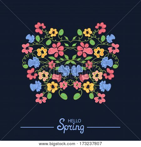 Multicolored illustration made of flowers and herbs. Floral doodles ornament. Design element for wedding invitation template, envelope, thank you , RSVP, save the date cards. Spring elements for Mother's, Women's Day. 8 March. Happy Easter.