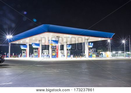Pump Gasoline On Night At Area Bangkok,thailand On 15 February 2017