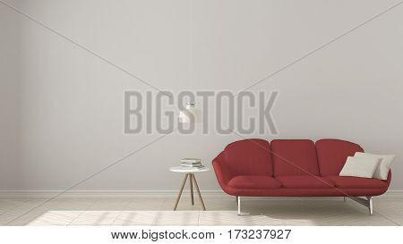Scandinavian Minimalistic Background, With Red Sofa On Herringbone Natural Parquet Flooring, Interio