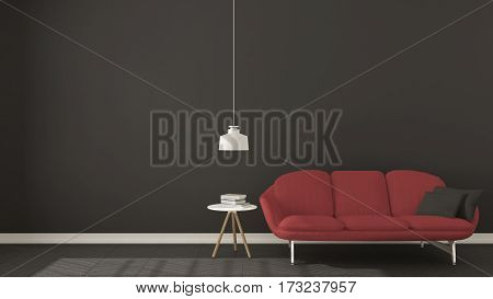 Scandinavian Minimalistic Dark Background, With Red Sofa On Herringbone Natural Parquet Flooring, In
