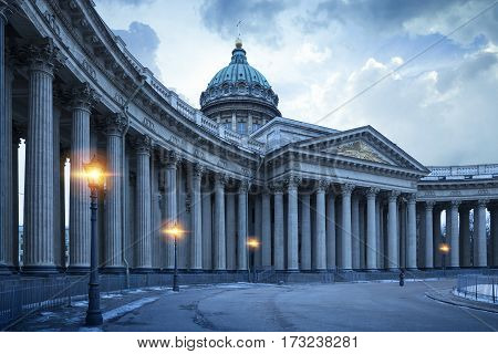 Kazan Cathedral in St.Petersburg by night Russia