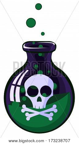 Cartoon poison jar, vector illustration, vertical, isolated