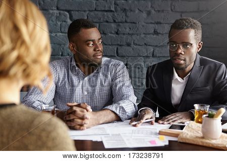 Portrait Of Confident And Successful African-american Businessmen Hiring New Accountant In Their Com