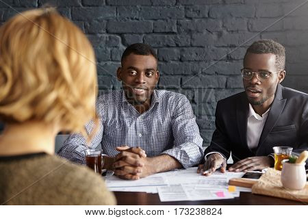 Fascinated Handsome African-american Ceo In Glasses And Hr Director In Shirt Conducting Job Intervie