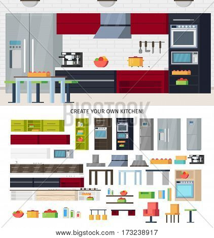 Modern Kitchen equipment template with furniture utensils and appliances for different variants of interior design vector illustration