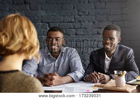 Caucasian Female Candidate Being Interviewed For Position In Office During Job Interview. Two Africa