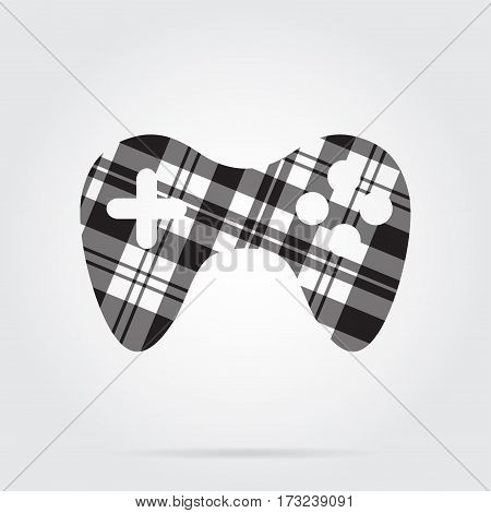 grayscale gray black isolated tartan icon with white stripes - gamepad and shadow in front of a gray background