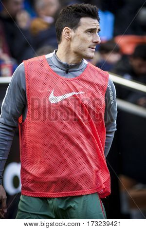VALENCIA, SPAIN - FEBRUARY 19: Aritz Aduriz during La Liga soccer match between Valencia CF and CD Athletic Club Bilbao at Mestalla Stadium on February 19, 2017 in Valencia, Spain