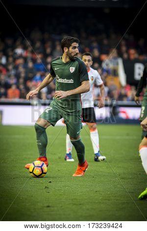 VALENCIA, SPAIN - FEBRUARY 19: Raul Garcia with ball during La Liga soccer match between Valencia CF and CD Athletic Club Bilbao at Mestalla Stadium on February 19, 2017 in Valencia, Spain