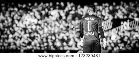 VALENCIA, SPAIN - FEBRUARY 19: Diego Alves during La Liga soccer match between Valencia CF and CD Athletic Club Bilbao at Mestalla Stadium on February 19, 2017 in Valencia, Spain