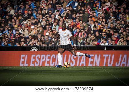 VALENCIA, SPAIN - FEBRUARY 19: Eliaquim Mangala during La Liga soccer match between Valencia CF and CD Athletic Club Bilbao at Mestalla Stadium on February 19, 2017 in Valencia, Spain