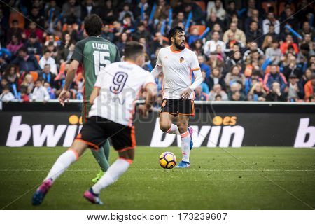VALENCIA, SPAIN - FEBRUARY 19: Ezequiel Garay with ball during La Liga soccer match between Valencia CF and CD Athletic Club Bilbao at Mestalla Stadium on February 19, 2017 in Valencia, Spain