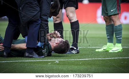 VALENCIA, SPAIN - FEBRUARY 19: Laporte injured during La Liga soccer match between Valencia CF and CD Athletic Club Bilbao at Mestalla Stadium on February 19, 2017 in Valencia, Spain