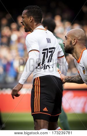 VALENCIA, SPAIN - FEBRUARY 19: (L) Nani clebrates a goal during La Liga soccer match between Valencia CF and CD Athletic Club Bilbao at Mestalla Stadium on February 19, 2017 in Valencia, Spain