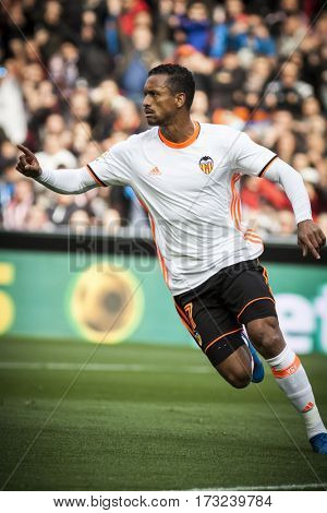 VALENCIA, SPAIN - FEBRUARY 19: Nani celebrates a goal during La Liga soccer match between Valencia CF and CD Athletic Club Bilbao at Mestalla Stadium on February 19, 2017 in Valencia, Spain