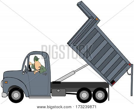 Illustration of a man backing up a dump truck with its box raised.