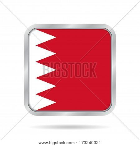 National flag of Bahrain. Shiny metallic gray square button with shadow.
