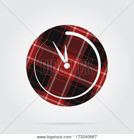 red black isolated tartan icon with white stripes - last minute clock and shadow in front of a gray background