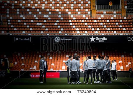 VALENCIA, SPAIN - FEBRUARY 19: Bilbao players during La Liga soccer match between Valencia CF and CD Athletic Club Bilbao at Mestalla Stadium on February 19, 2017 in Valencia, Spain