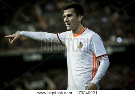 VALENCIA, SPAIN - FEBRUARY 22: jose Luis Gaya during La Liga soccer match between Valencia CF and Real Madrid at Mestalla Stadium on February 22, 2017 in Valencia, Spain