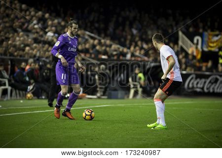 VALENCIA, SPAIN - FEBRUARY 22: Bale with ball during La Liga soccer match between Valencia CF and Real Madrid at Mestalla Stadium on February 22, 2017 in Valencia, Spain