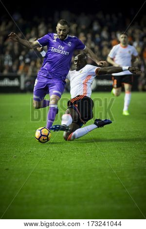 VALENCIA, SPAIN - FEBRUARY 22: Benzema with ball during La Liga soccer match between Valencia CF and Real Madrid at Mestalla Stadium on February 22, 2017 in Valencia, Spain