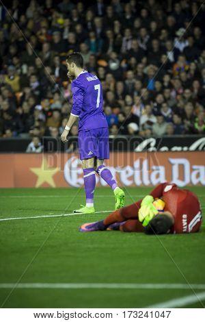 VALENCIA, SPAIN - FEBRUARY 22: 7 Ronaldo and Alves during La Liga soccer match between Valencia CF and Real Madrid at Mestalla Stadium on February 22, 2017 in Valencia, Spain