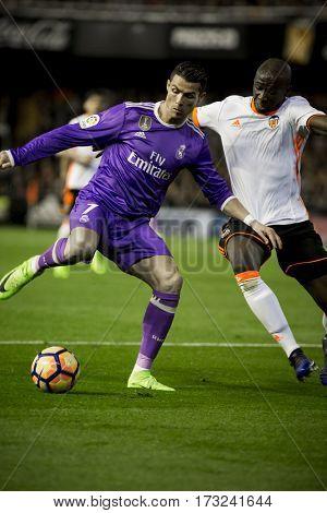 VALENCIA, SPAIN - FEBRUARY 22: (L) Ronaldo and Mangala during La Liga soccer match between Valencia CF and Real Madrid at Mestalla Stadium on February 22, 2017 in Valencia, Spain
