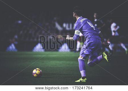 VALENCIA, SPAIN - FEBRUARY 22: Sergio Ramos during La Liga soccer match between Valencia CF and Real Madrid at Mestalla Stadium on February 22, 2017 in Valencia, Spain