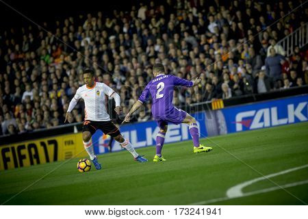 VALENCIA, SPAIN - FEBRUARY 22: (L) Luis Almeida Nani during La Liga soccer match between Valencia CF and Real Madrid at Mestalla Stadium on February 22, 2017 in Valencia, Spain