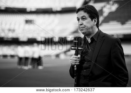 VALENCIA, SPAIN - FEBRUARY 22: BeIN Sports TV journalist during La Liga soccer match between Valencia CF and Real Madrid at Mestalla Stadium on February 22, 2017 in Valencia, Spain