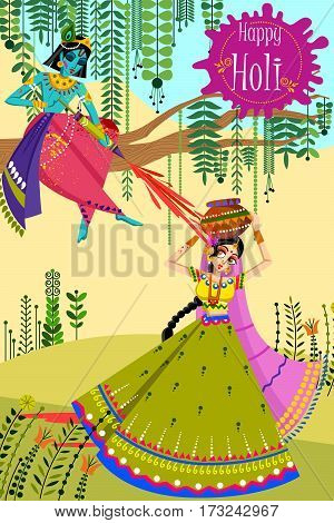 Vector design of Indian God Krishna and Radha celebrating color festival of India Holi