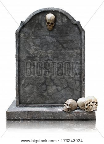 Tombstone with skull isolated on white background copy space and clipping path.