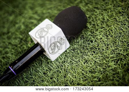 VALENCIA, SPAIN - FEBRUARY 22: Real Madrid TV microphone during La Liga soccer match between Valencia CF and Real Madrid at Mestalla Stadium on February 22, 2017 in Valencia, Spain