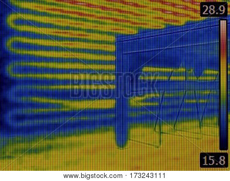 Under Wall Central Heating Inspection Thermal Image