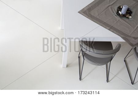 Simple White Dining Room Detail