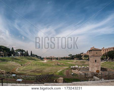 Cirkus Maximus in modern Rome in Italy