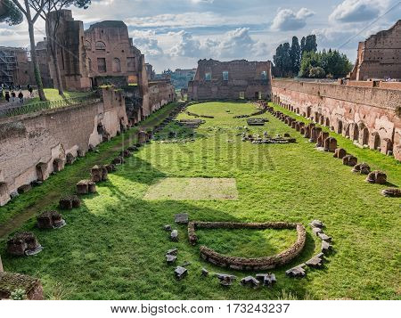 The hippodrome of Domitian on Palatine hill in Rome Italy