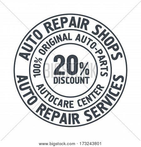 Auto Repair Services Badge template. Car service label emblem vector illustration.