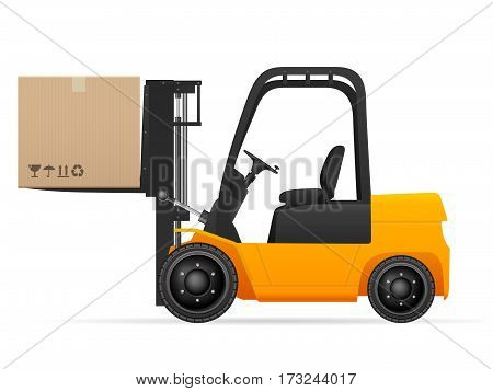 Forklift with pasteboard box on a white background.