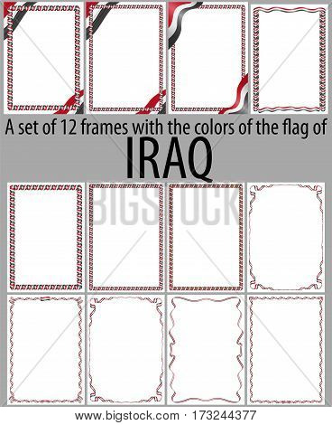 Set of 12 frames with the colors of the flag of Iraq