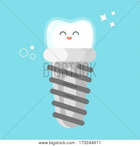 Vector flat style illustration of happy dental implant. Icon for web. Isolated on white background.
