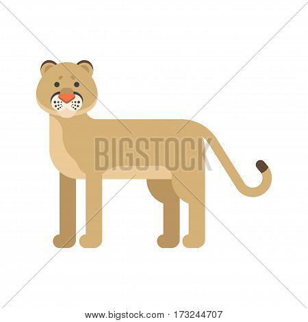 Vector flat style illustration of puma. Icon for web. Isolated on white background.