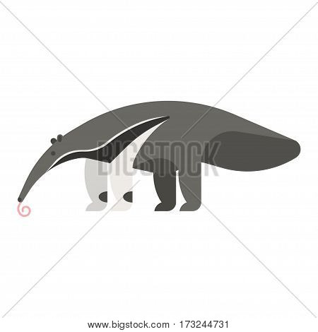 Vector flat style illustration of anteater. Icon for web.