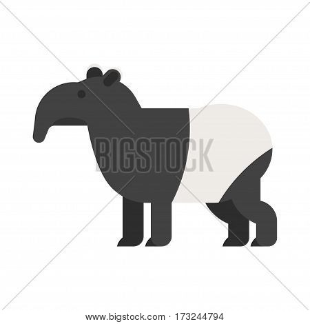 Vector flat style illustration of tapir. Icon for web. Isolated on white background.