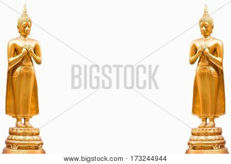 Standing the Buddha isolated on white background